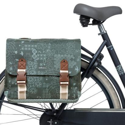 Basil Bohème dubbele fietstas groen zijaanzicht