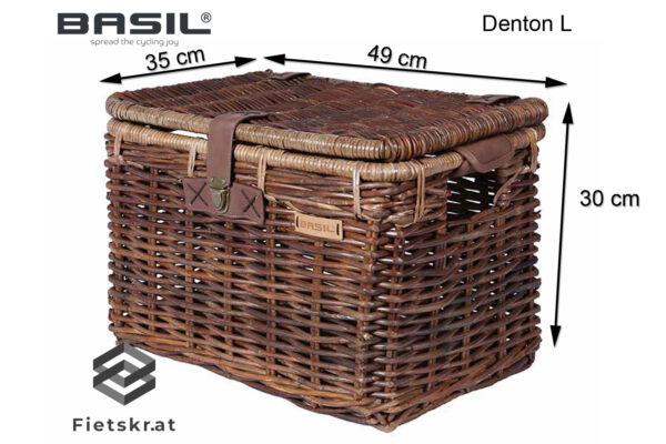 Basil Denton rieten fietsmand bruin/grijs large