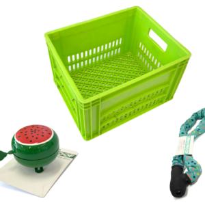 Groene krat met groene bel en groen kettingslot
