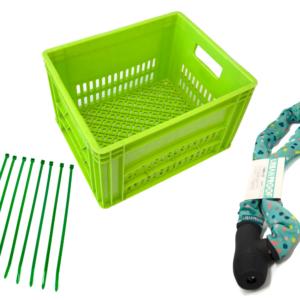 Groene fietskrat mini met groen kettingslot en groene tiewraps