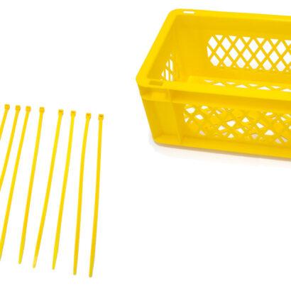 Krat geel met gele tiewraps