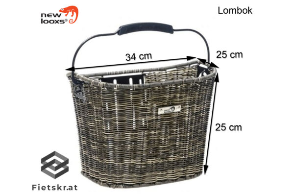 New Looxs Lombok fietsmand afmetingen