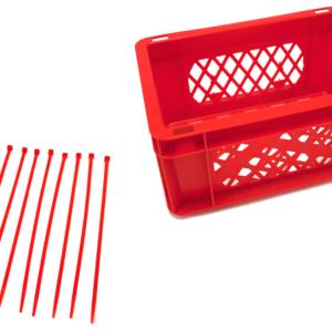 Rode krat met rode tiewraps