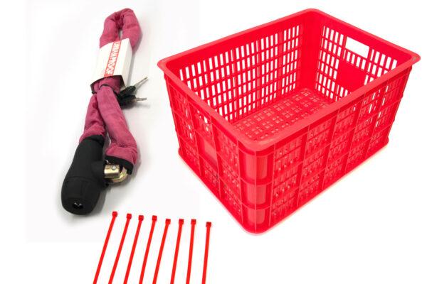 Rode krat met rood kettingslot en rode tiewraps