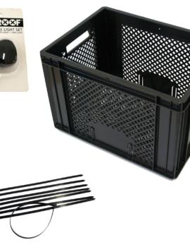 Zwarte krat met tiewraps en fietslampjes